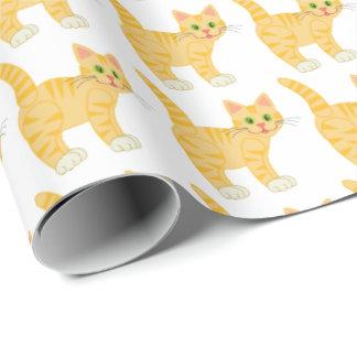 かわいい猫の黄色のストライプの子猫の子ネコパターン子供 ラッピングペーパー