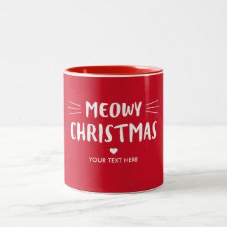 かわいい猫のMeowyのクリスマス|の赤い休日 ツートーンマグカップ