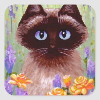 かわいい猫のRagdollのシャムのビルマ語ばら色のCreationarts スクエアシール