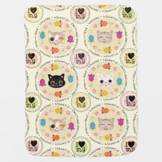 かわいい猫好きの子猫のベビーブランケット ベビー ブランケット