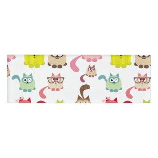かわいい猫、子供パターン、ガーリーなおもしろい幸せなカラフルtre 名札