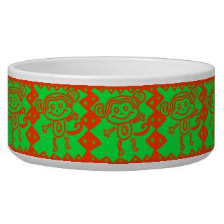かわいい猿のオレンジ緑動物パターン 犬のえさ皿