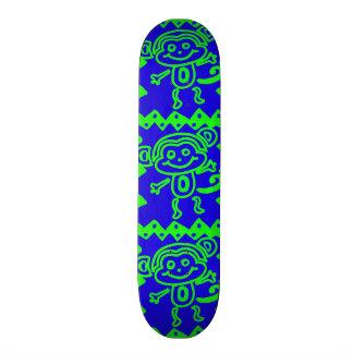 かわいい猿の青いライムグリーン動物パターン スケートボードデッキ