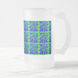 かわいい猿の青いライムグリーン動物パターン フロストグラスビールジョッキ