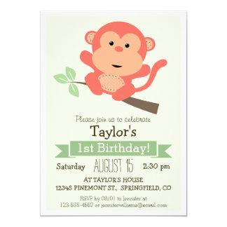 かわいい猿、ジャングルの動物の子供の誕生会 12.7 X 17.8 インビテーションカード
