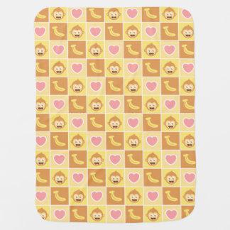 かわいい猿、バナナ、ベビーのためのハートパターン ベビー ブランケット