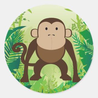 かわいい猿 ラウンドシール