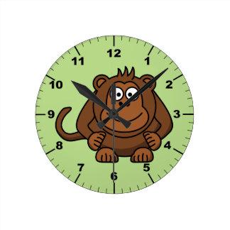 かわいい猿 ラウンド壁時計