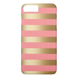 かわいい珊瑚および金ゴールドのストライプ iPhone 8 PLUS/7 PLUSケース