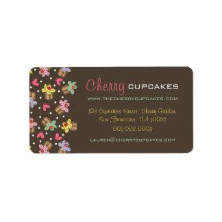 かわいい甘いさくらんぼのカップケーキのお菓子屋のベーカリー ラベル
