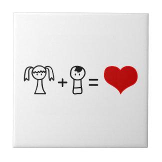 かわいい男の子および女の子愛落書き タイル