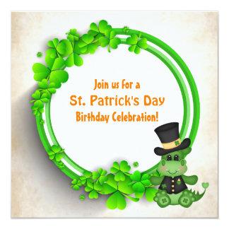 かわいい男の子のドラゴンのセントパトリックの日のアイルランド人の誕生日 13.3 スクエアインビテーションカード