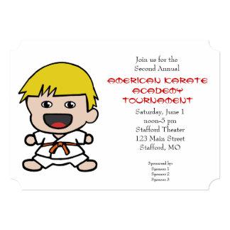 かわいい男の子の空手のトーナメントの招待状 カード