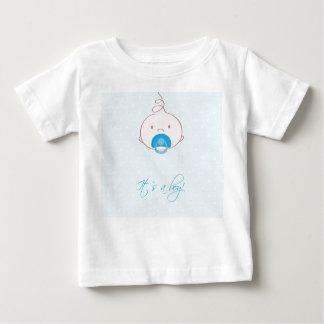 かわいい男の赤ちゃんの到着の発表カード ベビーTシャツ