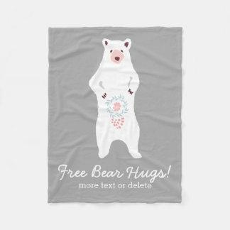 かわいい白くまの自由な抱擁カスタムの文字 フリースブランケット
