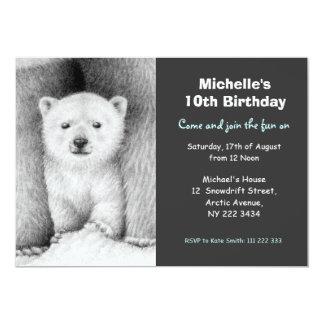 かわいい白くま及びカブスの誕生日のパーティの招待状 カード