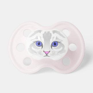 かわいい白人の虎猫猫の顔のイラストレーションの女の赤ちゃん おしゃぶり