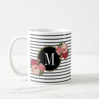 かわいい白黒のストライプのなBohoの花柄のモノグラム コーヒーマグカップ