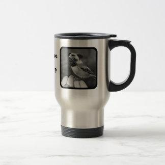 かわいい白黒パグの鳥のタンブラー トラベルマグ