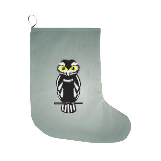 かわいい白黒フクロウ ラージクリスマスストッキング