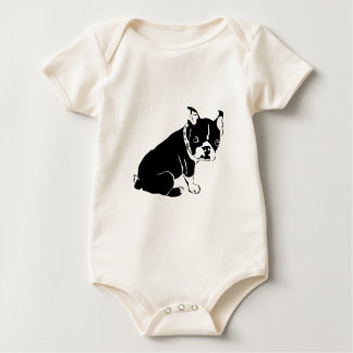 かわいい白黒フレンチ・ブルドッグの子犬 ベビーボディスーツ
