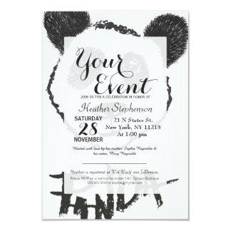 かわいい白黒手描きのパンダのタイポグラフィ カード