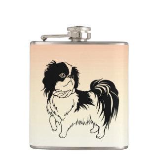 かわいい白黒犬のオレンジのフラスコ フラスク