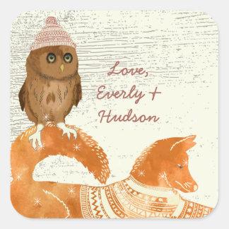かわいい目のフクロウのキツネの帽子およびセーターの納屋木 スクエアシール