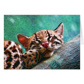 かわいい睡眠のベビーのオセロットの子ネコの絵画 カード