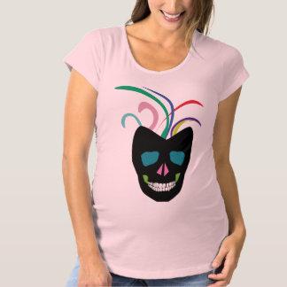 かわいい砂糖のスカルのピンクのマタニティシャツ マタニティTシャツ