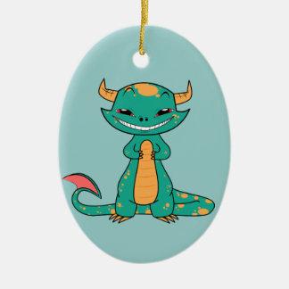 かわいい神話上のドラゴンの微笑 セラミックオーナメント