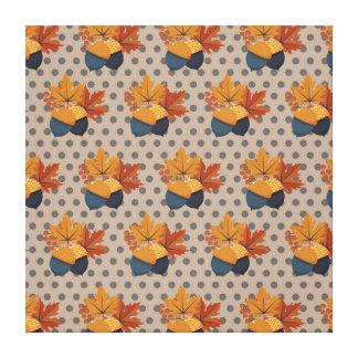 かわいい秋のドングリパターン キャンバスプリント