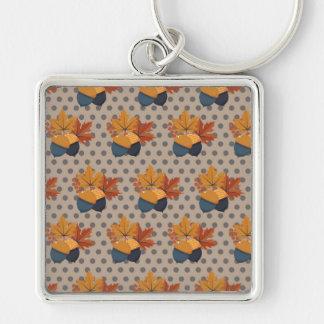 かわいい秋のドングリパターン キーホルダー