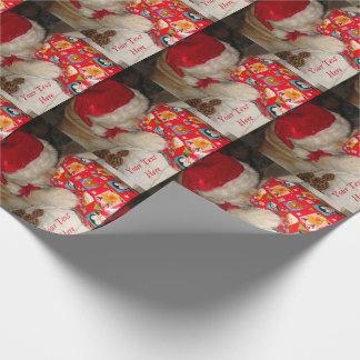 かわいい秋田犬のサンタの帽子の入り口のクリスマスのギフト ラッピングペーパー