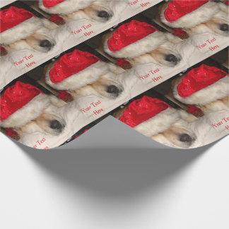 かわいい秋田犬のサンタの帽子の円錐形の眠ったクリスマス ラッピングペーパー