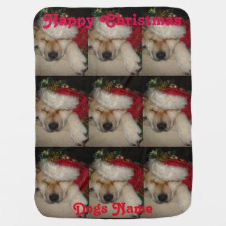かわいい秋田眠ったサンタの帽子のチンサルのクリスマス犬 ベビー ブランケット