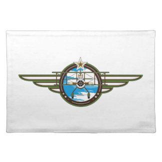 かわいい空軍パイロットおよび複葉機 ランチョンマット