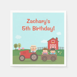 かわいい納屋周囲の庭のトラクターの子供の誕生日のパーティーのナプキン スタンダードカクテルナプキン