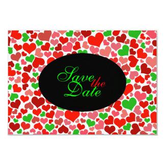 かわいい紙吹雪のハートを結婚する休日のクリスマス カード