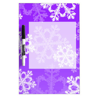 かわいい紫色およびホワイトクリスマスの雪片 ホワイトボード