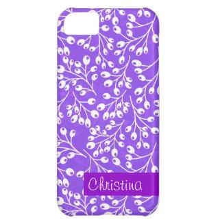 かわいい紫色および白い秋の果実 iPhone5Cケース