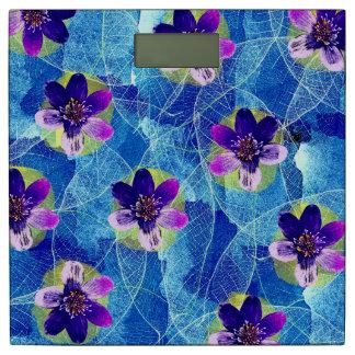 かわいい紫色および青のアートな花パターン 体重計