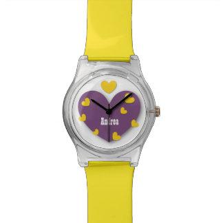 かわいい紫色および黄色のハートの名前をカスタムするV025 腕時計