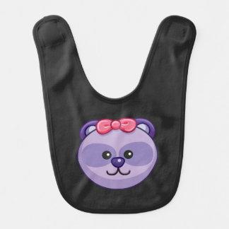 かわいい紫色くまの漫画の黒のカスタム ベビービブ