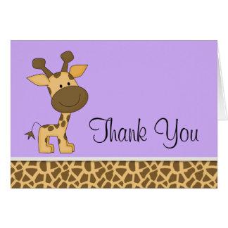 かわいい紫色のキリンのサンキューカード ノートカード