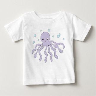 かわいい紫色のタコ ベビーTシャツ