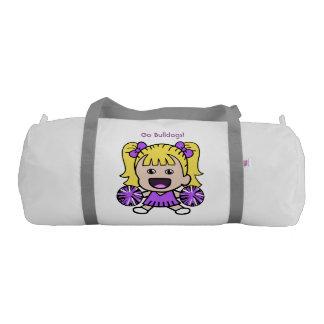 かわいい紫色のチアリーダーのダッフルバッグ ジムバッグ
