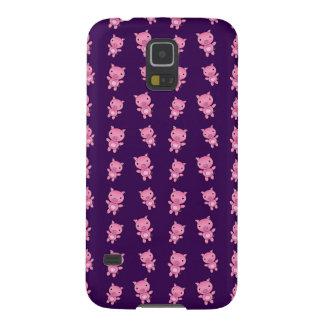 かわいい紫色のブタパターン GALAXY S5 ケース