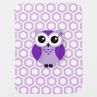 かわいい紫色の漫画のフクロウの蜜蜂の巣の背景 ベビー ブランケット