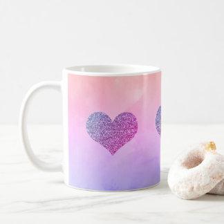 かわいい紫色の輝きのハートのコーヒー茶マグ コーヒーマグカップ